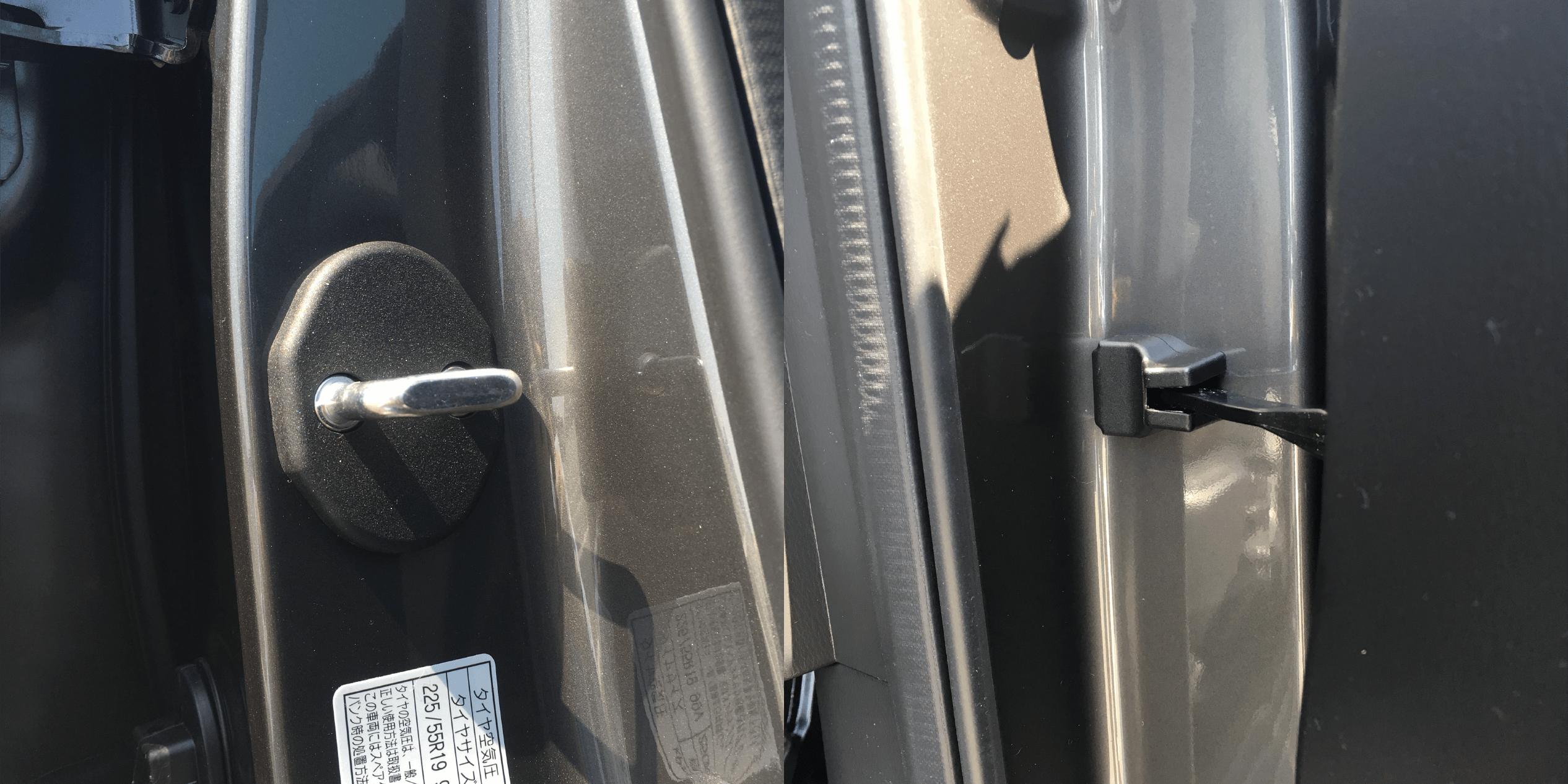 CX-5にドアヒンジカバーとドアストライカーカバーを取り付け